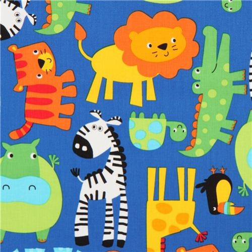 Blue jungle animal fabric timeless treasures lion zebra for Childrens jungle print fabric