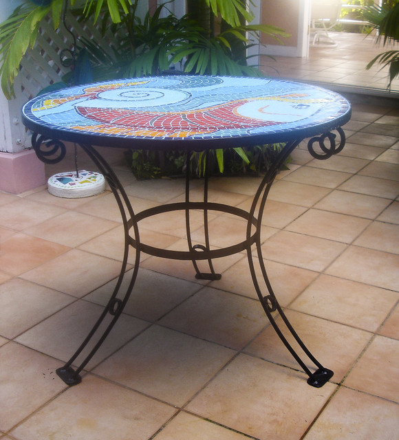 Mosaic Fish and Shell Table side-tables-and-end-tables