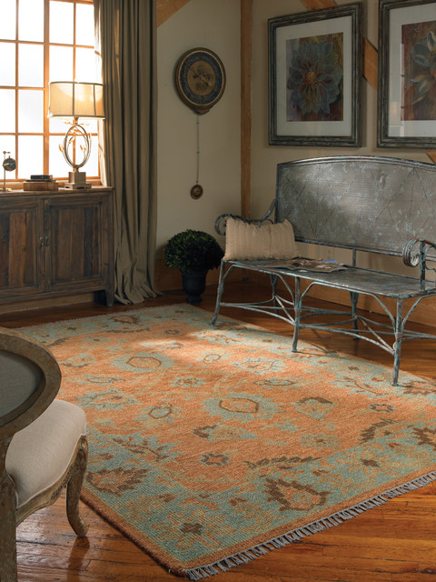 Oushak Rug-Rust & Blue traditional-rugs