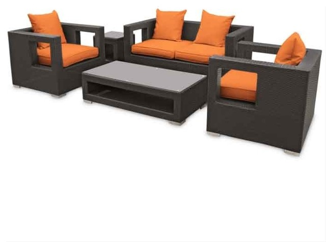 Modway Lunar Outdoor Rattan 5 Piece Set In Espresso With Orange Cushions