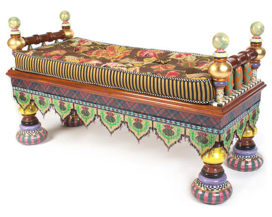 Ridiculous Bench | MacKenzie-Childs - A bona fide star in the theatre of the absurd. Go ahead, it's OK to stare at this over-the-top conversation starter, decorated by our master artisans in a long list of fabulous details: hand-painted faux marbling, checks, dots, gold leaf, traditional Scottish tartan and Florentine papers, and ceramic floral transfers over a hardwood frame. Preposterously perfect from top to bottom, the Ridiculous Bench is supported by handmade and decorated, gold-lustred, majolica feet, and decked out with a sassy sash of handmade glass beaded fringe. If there's a corner of your home that could use a little nonsense now and again, our Ridiculous Bench ought to do the trick.