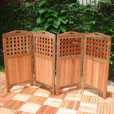 solid teak outdoor room divider modern screens and