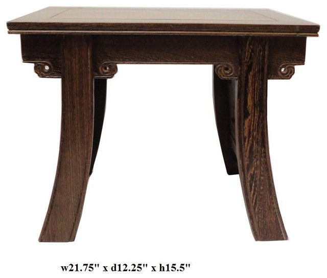 Chinese Ancient Style Feather Wood Table Stool