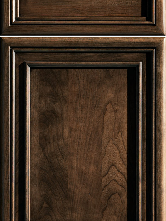 """Dura Supreme Cabinetry - Dura Supreme Cabinetry Valencia Panel Cabinet Door Style - Dura Supreme Cabinetry """"Valencia Panel"""" cabinet door style in Cherry shown with Dura Supreme's """"Praline"""" gray stain with """"Charcoal"""" Glaze finish."""