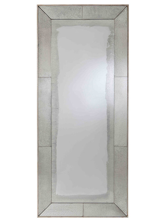 "Kathy Kuo Home - Vera Antiqued Mirror Contemporary Floor Mirror - Let there be light!  This floor mirror delivers generous light on its own, but when framed in antiqued mirror the effect is multiplied ten fold.  Dark corners beware, this beauty creates airy reflection with such ease, you might mistake it for a doorway into the ""next room""!"