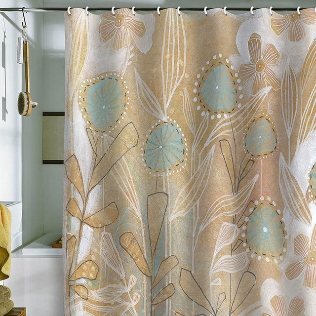 DENY Designs Cori Dantini Blue Floral Shower Curtain contemporary-showerheads-and-body-sprays