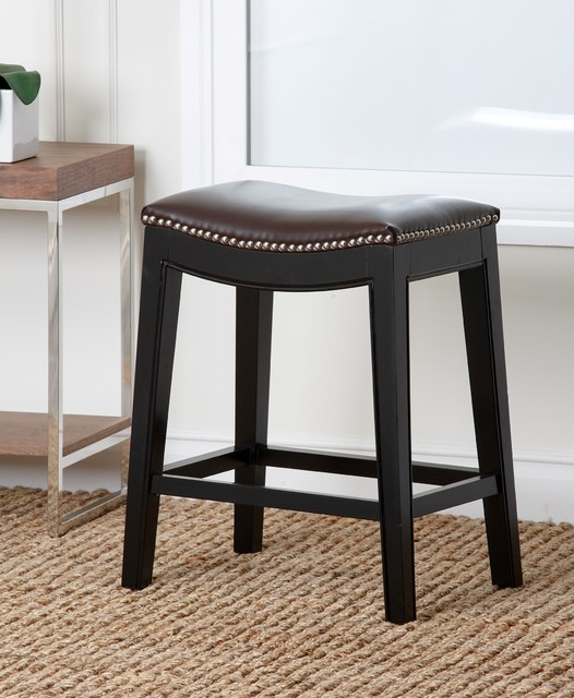 Abbyson Living Rivoli Dark Brown Leather Nailhead Trim  : contemporary bar stools and counter stools from www.houzz.com size 526 x 640 jpeg 80kB