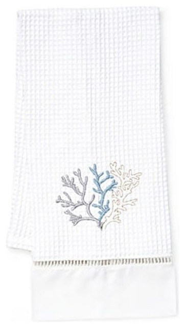 Waffle Weave Guest Towel, Coral Duck Egg Blue beach-style-towels