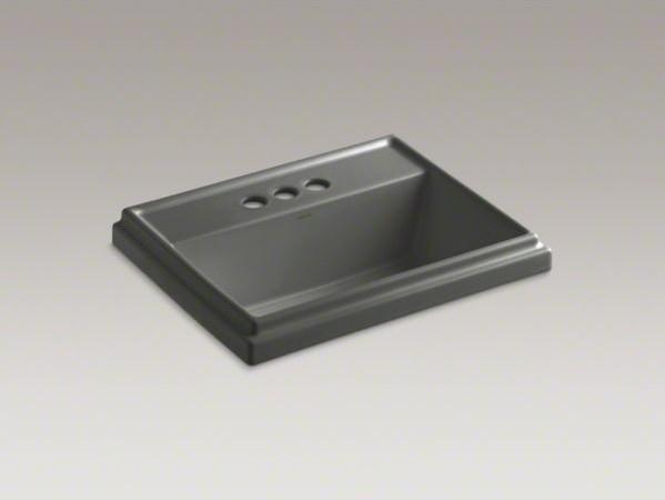 "KOHLER Tresham(R) rectangular drop-in bathroom sink with 4"" centerset faucet hol contemporary-bathroom-sinks"