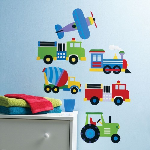 Olive kids trains planes and trucks wall art modern kids decor by allmodern - Modern kids wall decor ...