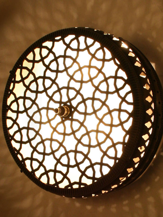 Cylinder Small Ottoman Style Brass Wall Lamp - Cylinder Small Ottoman Laser Cut Brass Wall (Ceiling) Lamp