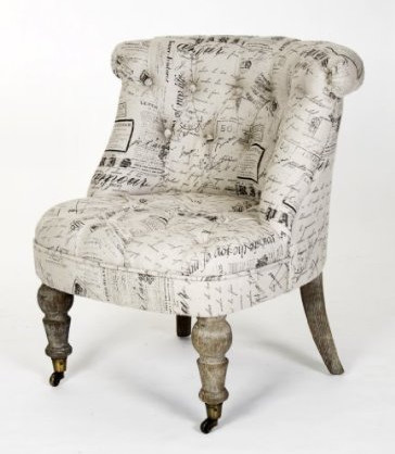 Amelie French Country Gray Script Tufted Slipper Chair eclectic-armchairs