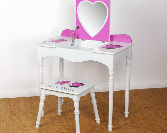 Kids Furniture - This pretty little vanity and stool set has a hidden surprise— lift the table top to reveal a heart-shaped mirror and all place for precious trinkets. The Hello Kitty Flip-Top Vanity has a clean, simple style that is a perfect addition for any girl's bedroom.