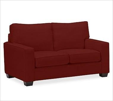 PB Comfort Square UpholsteredLoveseatTwillSierra RedUpholsteredDown Blend traditional-sofas
