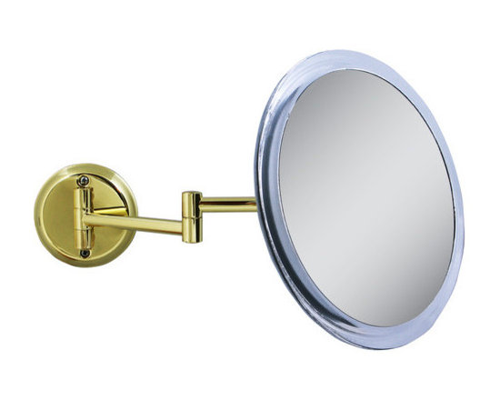 """Zadro - Single Sided Non-Lighted 5X Magnification Wall Mount Mirror - The 5X Brass Wall Mirror features a premium quality, 5x magnification mirror that allows you to see up-close and in detail, allowing for easy make-up application. The dual-jointed arm extends up to 10.5 and can be moved and positioned however you want. The 5X Brass Wall Mirror is available in a stylish Brass finish. Features: -Finish: Acrylic with brass base. -Convenient wall-mount base can be mounted to almost any surface. -Dual-jointed arm extends up to 10.5"""". -Mirror Adjusts 180° for Easy Viewing and Any Angle. -5X Magnification. -Made in USA. Specifications: -Mirror surface dimensions: 9"""" Diameter. -Overall dimensions: 7.5"""" H x 4"""" W x 13"""" D."""