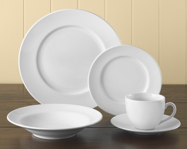 Brasserie All White Dinnerware 5 Piece Place Setting