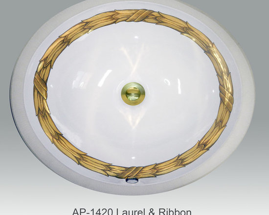 "Hand Painted Undermounts by Atlantis Porcelain - ""LAUREL & RIBBON"" Shown on AP-1420 white Monaco Medium undermount 17-1/4""x14-1/4""available on burnished gold or platinum and bright gold or platinum on any of our sinks."