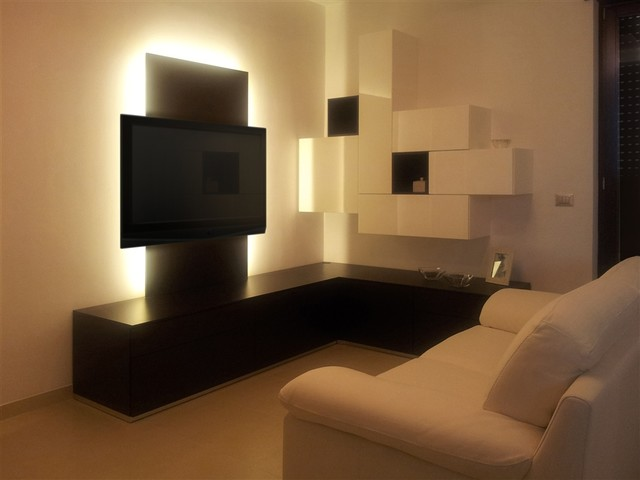 Modern Corner Wall Unit Entertainment Center Custom