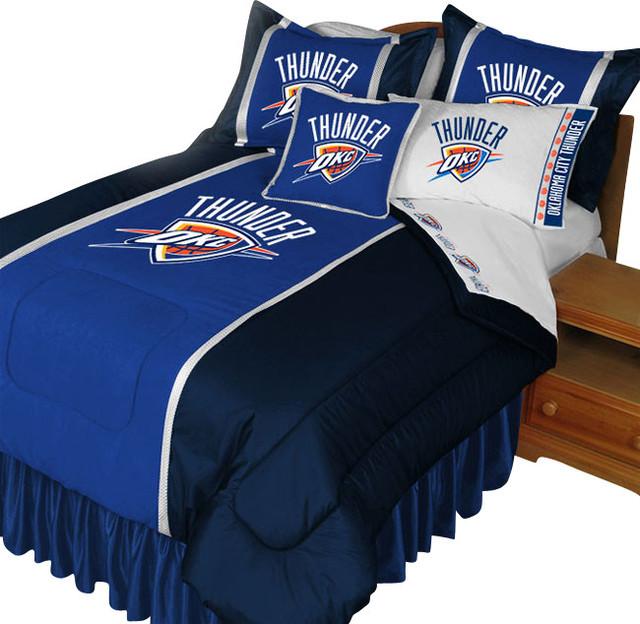 Http Www Houzz Com Uk Photos 14677492 Nba Oklahoma City Thunder Queen Comforter Set Basketball Bed Modern Childrens Bedding