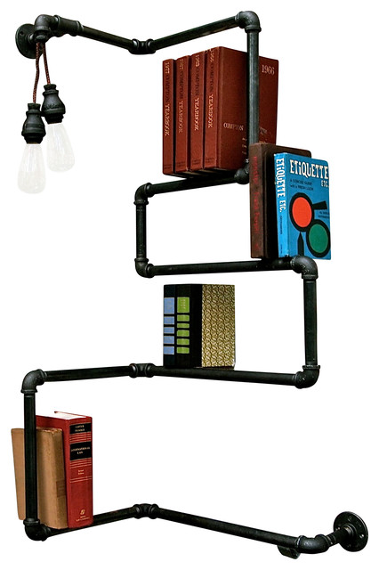 Press On Industrial Pipe Bookshelf W/out Lighting industrial-wall-shelves