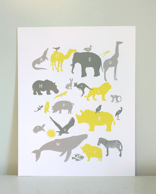 Alphabet Animals Print in Grays and Yellow by Gus & Lula contemporary-nursery-decor