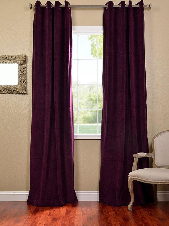 Eggplant Grommet Velvet Blackout Curtains & Drapes -
