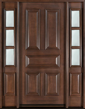 Classic Series Wood Entry Door, Single with 2 Sidelites traditional-front-doors
