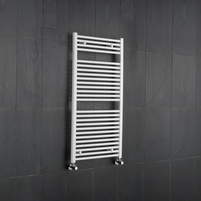White Flat Bathroom Heated Towel Radiator Rail 47.25 x 23.5 contemporary-towel-bars-and-hooks