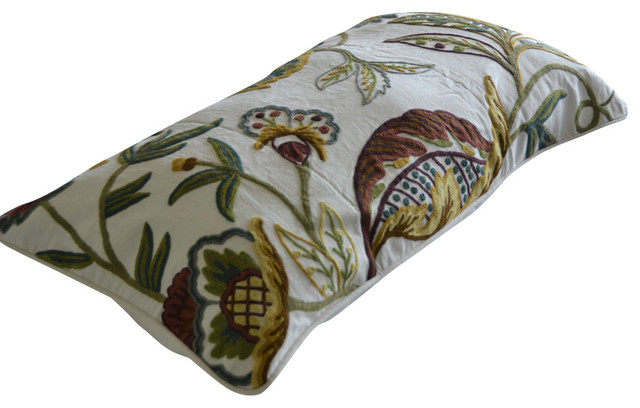 Crewel Pillow King Shams Atherton Multi Cotton Duck 20x36 craftsman-bed-pillows