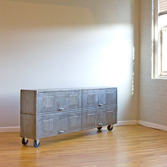 Repurposed, Brushed Steel, Vintage Locker Consoles eclectic-storage-and-organization