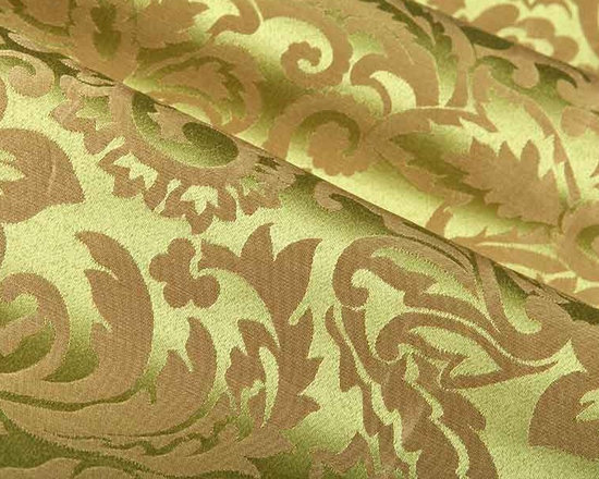 Devon Damask Upholstery Fabric in Green Apple - Devon Damask Upholstery Fabric in Green Apple has a large scale floral damask pattern on a silken base with a soft sheen perfect for upholstering or pillows. This damask upholstery is made from 100% polyester. This durable upholstery fabric passes 30,000 double rubs on the Wyzenbeek Abrasion Test. Cleaning Code: S; UFAC: Class I; passes CA117 Test. Width 54″; repeat 23″ V x 15.5″ H.