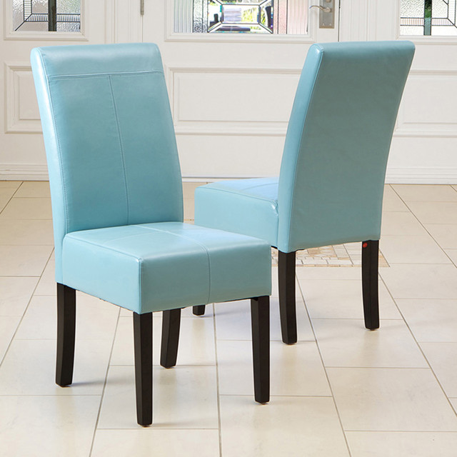 teal blue leather dining chair set of 2 modern dining room