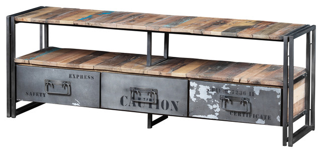 three drawer tv unit made of recycled boat wood and. Black Bedroom Furniture Sets. Home Design Ideas