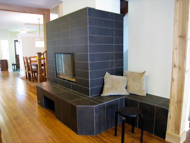 Fireplace contemporary-hall