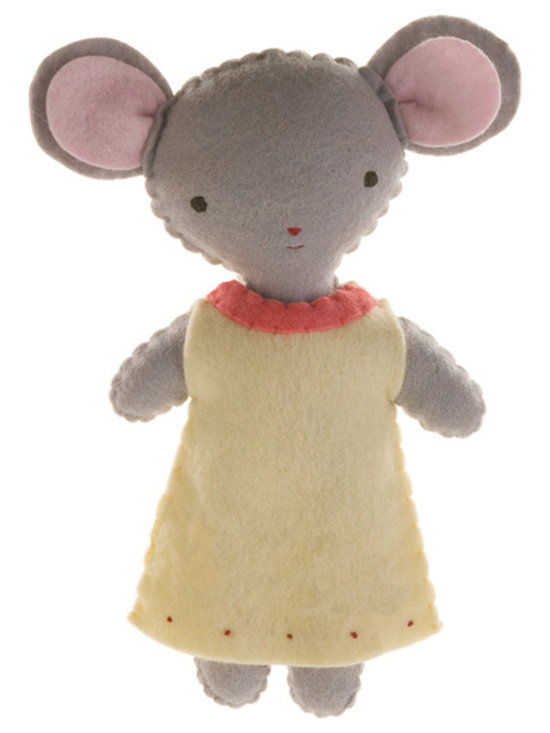Kata Golda - Stuffed Companion - Mouse, Girl - Kata Golda's Stuffed Companions make adorable playtime and cuddle pals. Hand-stitched with cotton thread and soft, hand-dyed wool felt, their hand-embroidered details make each one unique. Care: Gently spot wash with cold water by hand. Detergents can cause the wool to fade, so use caution and test in an inconspicuous area first.  Do not place items in the dryer; they will shrink.