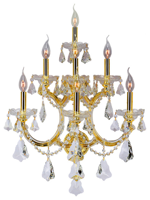 Maria Theresa 7 Light Gold Finish Crystal Wall Sconce Light, Large - Transitional - Wall Sconces ...