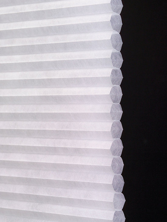 "Virtuouso 1/2"" Single Cell Light Filtering fabric - Our 1/2"" Single Cell Light Filtering fabric is used exclusively on Symphony Shades. Compare to Hunter Douglas Duette, Architella & Applause Shades. R-Value of 3.4 Shown in 405 Primo White"