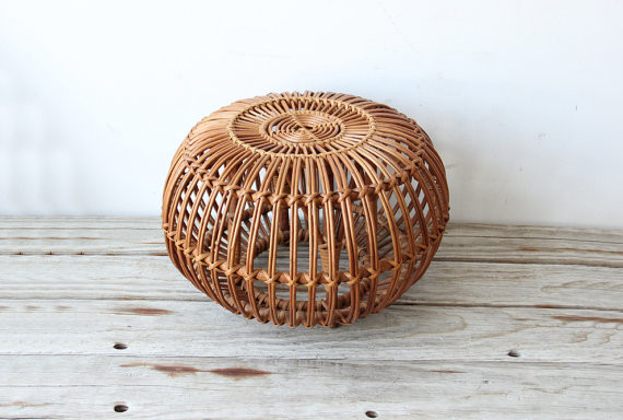 Franco Albini Rattan Ottoman by Gallivanting Girls contemporary-ottomans-and-cubes