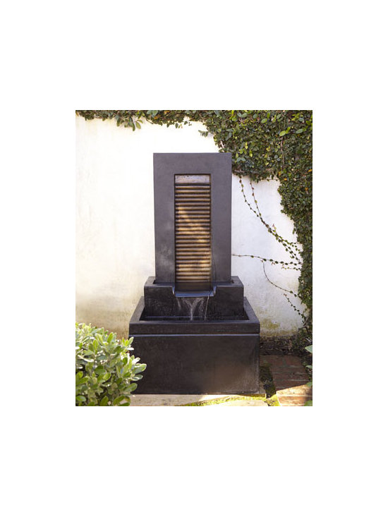 Horchow - Aurora Fountain - Exclusively ours. Whether your style is modern, contemporary, or traditional, this sleek fountain lets you add the soothing sounds of flowing water to a sun room, garden, patio, or any outdoor retreat. Handcrafted of crushed stone/polyester resin/sty...