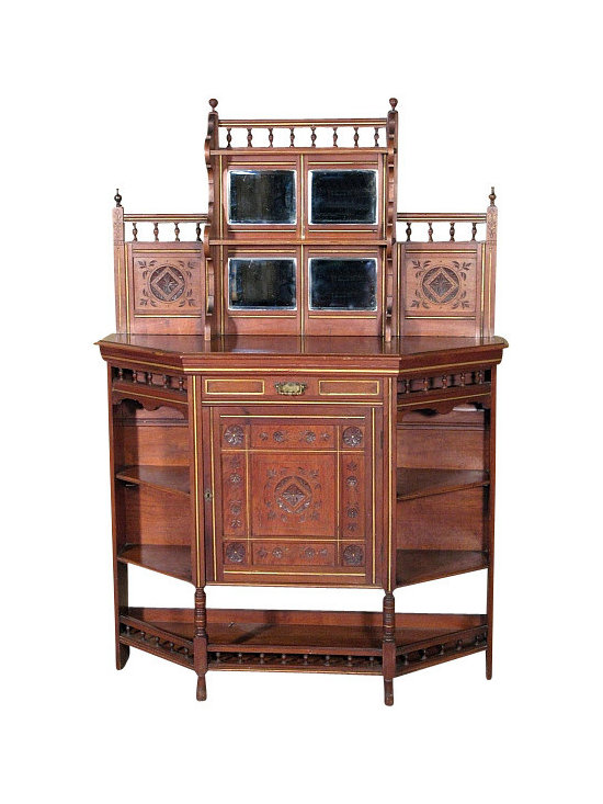 Antiques - Antique English Solid Walnut Commode Dresser Chiffonier Etagere Whatnot - This is a beautiful antique English solid walnut dresser etagere whatnot. It features a beautiful backsplash that has very attractive turned galleries with lovely finials, 4 beveled mirrors, 2 convenient shelves and paneled surfaces with foliage & floral carvings. In addition it includes a drawer with dovetail joinery that has gilded accents and a brass handle, a spacious cabinet with a removable shelf that has a panel door adorned with gilded stripes and foliage & floral carvings, and there are a total of 5 shelves including one at the bottom. This piece may show minor age appropriate signs of wear including wood imperfections but as shown it is overall in very good cosmetic and structural condition and it is strong and sturdy. Add a touch of elegance to your home decor with this beautiful piece of furniture!