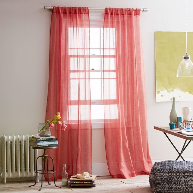 Sheer Linen Window Panel Coral Rose Contemporary