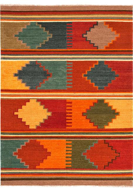 Flat Weave Tribal Pattern Multi Color Wool Handmade Rug