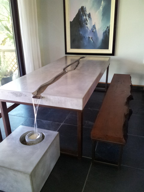 Concrete water feature table modern dining sets san