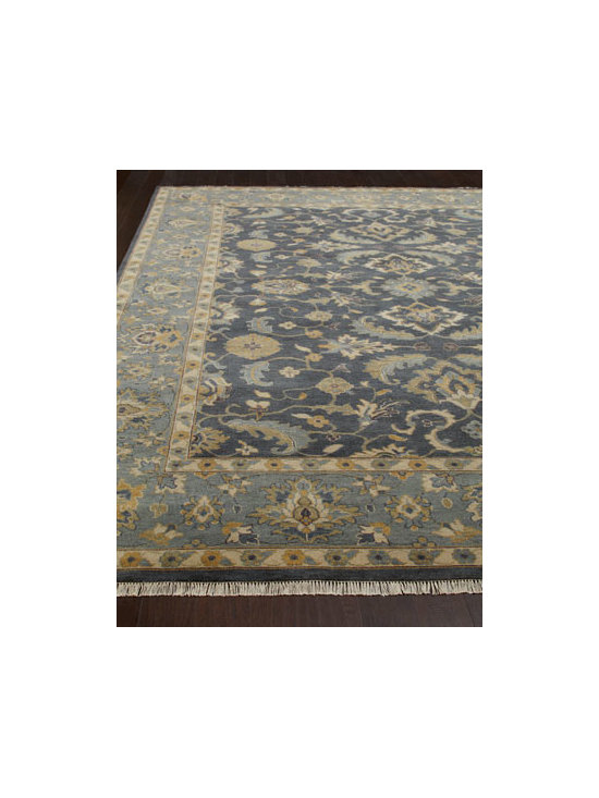 "Horchow - ""Laymore"" Rug - Traditional floral Peshawar rug framed by a tonal border appeals to the softer side in cool and mellow blues. Luster washed for an antique look. Hand knotted of wool. Sizes are approximate. Imported. See our Rug Guide for tips on how to measure..."