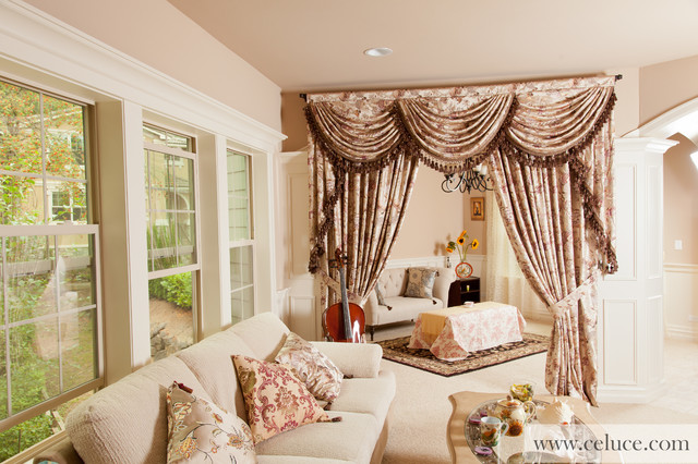 Drapes And Curtains Seattle - Tree of life silky valance curtain set with swags and tails curtains