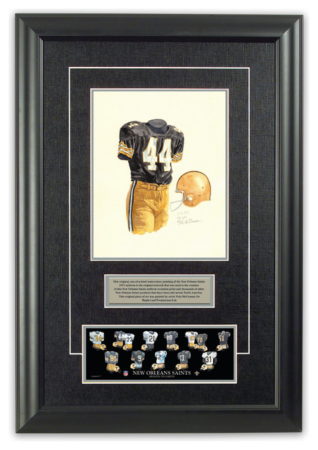 Original art of the NFL 1971 New Orleans Saints uniform traditional-game-room-wall-art-and-signs