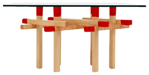 Double Red Matchstick Table eclectic-side-tables-and-end-tables