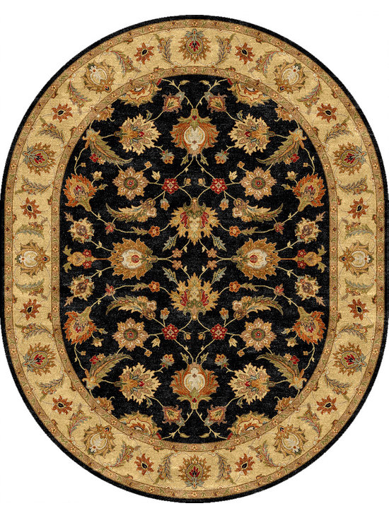 Jaipur Rugs - Traditional Oriental Pattern Gray /Black Wool Tufted Rug - MY03, 8x10 Oval - Sublime hues and graceful lines accentuate the traditional pattern motifs in Mythos, an elegant and value-driven range of durable, hand-tufted area rugs. This sophisticated collection is for the discriminating consumer with a passion for traditional design, at prices that answer every budget. The Mythos Collection is tradition, redefined.