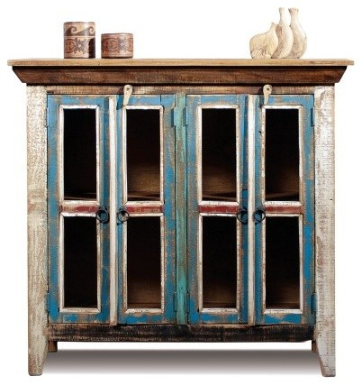 Distressed Reclaimed Wood Entry Way Cabinet / Bookcase / China Cabinet / Tv Cred - Rustic ...