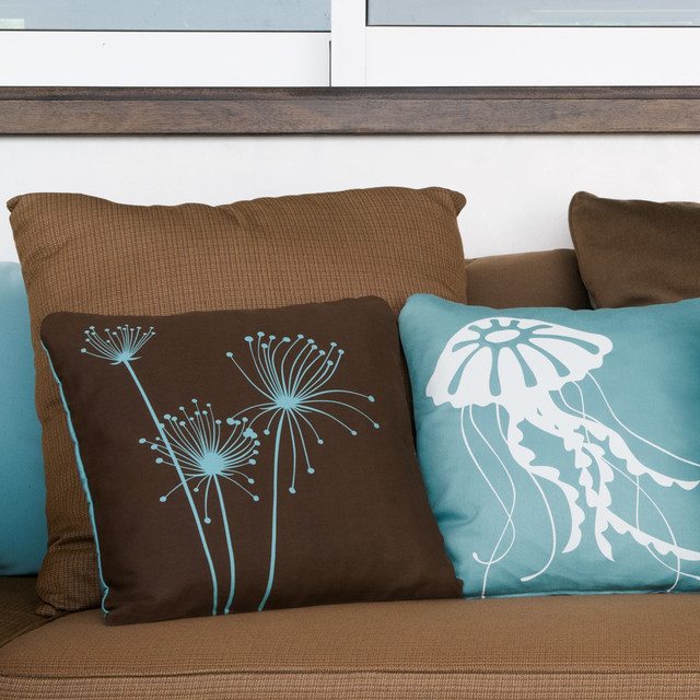 Floral Papyrus and Coastal Jellyfish Modern Eco Throw Pillows